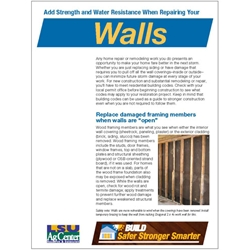 Build Safer Stronger Smarter:  Add Strength and Water Resistance When Repairing Your Walls
